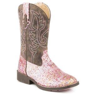 Kids Stetson Roper Pink Glitter Cowgirl Boots - 1